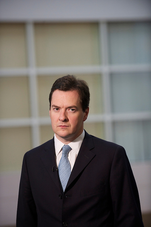 Chancellor of the Exchequer George Osborne prepares to be interviewed by the BBC on the first day of the Conservatives Pary Conference at the ICC, Birmingham, UK on October 3, 2010.  This is the first conference since the government coalition with the Liberal Democrats.