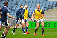 Duhan ven der Merwe (#11) (Edinburgh) of Scotland passes the ball during the Scotland Team Run at BT Murrayfield, Edinburgh, Scotland on 22 October 2020, ahead of Scotland v Georgia.
