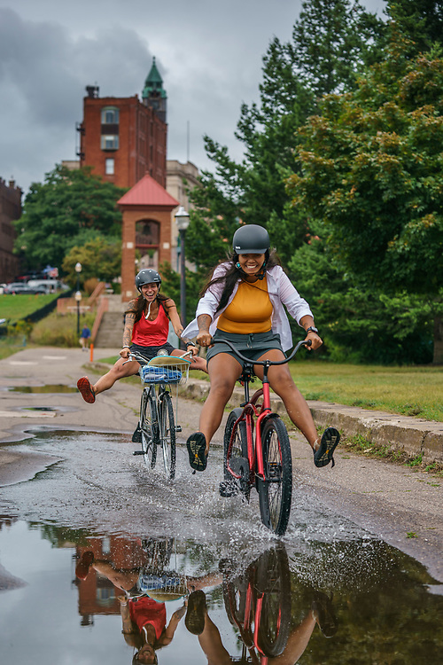 Riding bikes along the waterfront of downtown Marquette, Michigan.