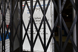 © Licensed to London News Pictures. 19/03/2020. London, UK. A station closed sign at Borough tube station in London which is seen closed this morning. Transport for London (TfL) are closing a number of underground stations from today, as partial closure of the tube and rail network begins in response to the growing coronavirus outbreak in the captial. Photo credit: Vickie Flores/LNP