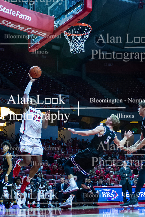 NORMAL, IL - October 23: Alex McQuinn stumbles backwards trying to draw an offensive foul on Jaycee Hillsman during a college basketball game between the ISU Redbirds and the Truman State Bulldogs on October 23 2019 at Redbird Arena in Normal, IL. (Photo by Alan Look)