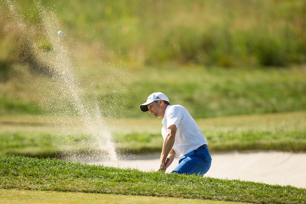 FARMINGDALE, NY - AUGUST 26:  Sergio Garcia of Spain plays a bunker shot during the final round of the 2012 Barclays at the Black Course at Bethpage State Park in Farmingale, New York on August 26, 2012. (Photograph ©2012 Darren Carroll) *** Local Caption *** Sergio Garcia