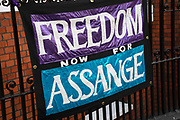 Banners calling to Free Assange outside the Ecuadorian Embassy on 5th April 2019 in London, England, United Kingdom. Wikileaks has announced that their founder Julian Assange may be expelled from the Embassy within hours or days.