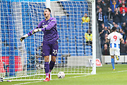 GOAL - Derby County goalkeeper Kelle Roos (21) shows anguish after Brighton and Hove Albion striker Jurgen Locadia (9)  (NOT IN PICTURE) scores during the The FA Cup 5th round match between Brighton and Hove Albion and Derby County at the American Express Community Stadium, Brighton and Hove, England on 16 February 2019.