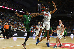 May 31, 2017 - Madrid, Madrid, Spain - Anthony Randolph (R), #3 of Real Madrid and Jeff Brooks, #23 of Unicaja de Málaga in action during the first game of the semifinals of basketball Endesa league between Real Madrid and Unicaja de Málaga. (Credit Image: © Jorge Sanz/Pacific Press via ZUMA Wire)