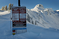 Backcountry warning sign Mount Baker Ski Area