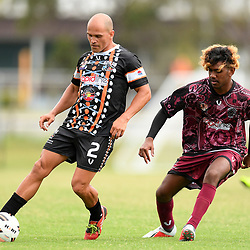 during the Australian Indigenous Football Championships Day 1 match between Eora All Blacks and NWQ Spinnifex Dragons at Logan Metro City Complex on November 8, 2018 in Brisbane, Australia. (Photo by Albert Perez/AIFC)