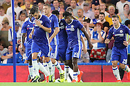 Chelsea striker Michy Batshuayi (23) celebrating scoring  a goal 3-1 during the EFL Cup match between Chelsea and Bristol Rovers at Stamford Bridge, London, England on 23 August 2016. Photo by Matthew Redman.