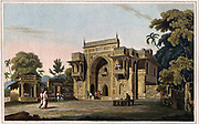 Gate leading to a Musjed, at Chunar Ghur, January 1797  The ancient fortress of Chunargarh, on a bold rock on the Ganges just before it reaches Varanasi, was strongly fortified by Akbar and represented the gateway to his Eastern Indian provinces. In 1606 Shah Qasim Sulamaini, a famous pious figure, died here and his followers built him a funerary complex. The entrance is a magnificent structure with a pointed arch in the middle, completely decorated with relief patterns of different designs. The artist commented, '...the effect of this gate, at a distance, is grand, from the bold projection of its superior parts; and its ornaments, though numerous, are applied with so much art and discretion, as to form the happiest union of beauty and grandeur.' From the book ' Oriental scenery: one hundred and fifty views of the architecture, antiquities and landscape scenery of Hindoostan ' by Thomas Daniell, and William Daniell, Published in London by the Authors January 1, 1812