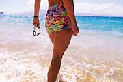 Woman swimming with goggles, Kaanapali, Maui, Hawaii