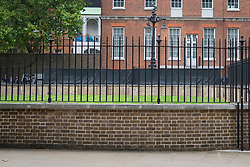 © Licensed to London News Pictures. 03/09/2020. London, UK. A new covering has appeared on the railings at the back entrance to Downing Street. The black sheeting obscures the view of people entering or leaving. It is unclear if this is a reaction to protests from environmental activist group Extinction Rebellion. Photo credit: George Cracknell Wright/LNP