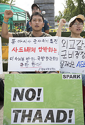 Aug. 29, 2017 - Seoul, South Korea - Demonstrators protest against the deployment of THAAD, in front of the Defense Ministry in Seoul, South Korea.  (Credit Image: © Lee Sang-Ho/Xinhua via ZUMA Wire)