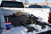 Guns are displayed by demonstrators before an open carry long rifle march demonstrating their 2nd amendment right to keep and bear arms on Thursday, January 31, 2013 in Fort Worth, Texas. (Cooper Neill/The Dallas Morning News)