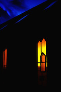 Historic Oella, Maryland church window at dusk. Shot on a Fuji X-Pro 2.