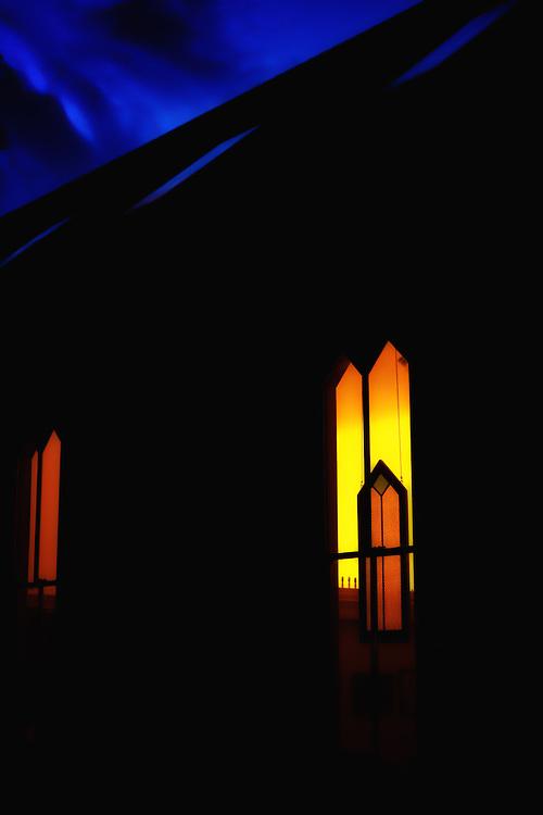 Historic Oella, Maryland church window at dusk. Shot on a Fuji X-Pro 2.