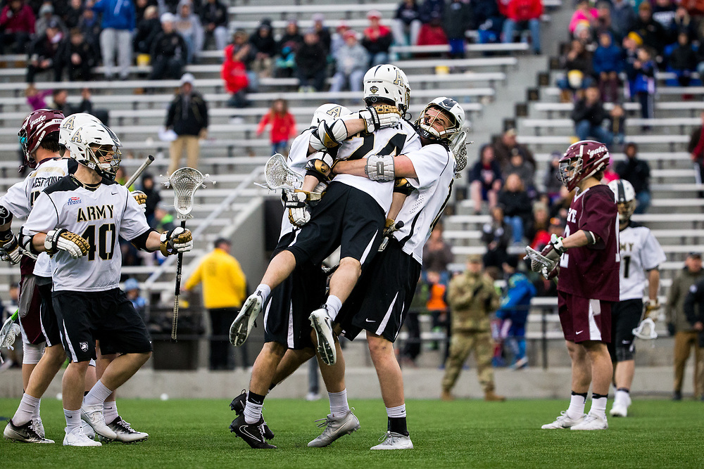 Gunnar Miller of Army, David Symmes of Army, Conor Glancy of Army, Nate Jones of Army<br /> Army Black Knights vs. Colgate Raiders<br /> NCAA Division I Men's Lacrosse<br /> West Point, NY<br /> March 25, 2017