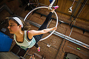 Training at Circus Space, the Hoxton based training school for circus performers. Shoreditch, London, UK. Guy Bell Photography