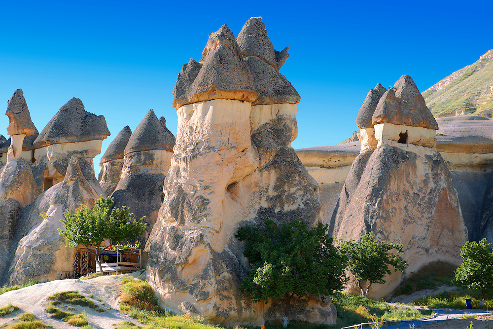"""Pictures & images of the fairy chimney rock formations and rock pillars of """"Pasaba Valley"""" near Goreme, Cappadocia, Nevsehir, Turkey .<br /> <br /> If you prefer to buy from our ALAMY PHOTO LIBRARY  Collection visit : https://www.alamy.com/portfolio/paul-williams-funkystock/cappadociaturkey.html (type which part of Cappadocia into the LOWER search box)<br /> <br /> Visit our TURKEY PHOTO COLLECTIONS for more photos to download or buy as wall art prints https://funkystock.photoshelter.com/gallery-collection/3f-Pictures-of-Turkey-Turkey-Photos-Images-Fotos/C0000U.hJWkZxAbg"""