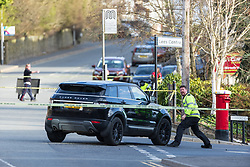 © Licensed to London News Pictures . 24/03/2021. Oldham , UK . Scene at the junction of Saddleworth Road and Stamford Road in Oldham where a Range Rover and a bicycle were in collision this afternoon (Wednesday 24th March 2021) . An air ambulance landed at a nearby school . Saddleworth Road and many surrounding routes are closed off to all traffic . Photo credit : Joel Goodman/LNP