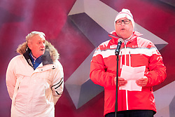 04.02.2019, Aare, SWE, FIS Weltmeisterschaften Ski Alpin, Eröffnungsfeier, im Bild Gian Franco Kasper (FIS Präsident), CEO Niklas Carlsson // CEO Niklas Carlsson Gian Franco Kasper president of the International Ski Federation during the opening ceremony of the FIS Ski Alpine World Championships 2019 in Aare, Sweden on 2019/02/04. EXPA Pictures © 2019, PhotoCredit: EXPA/ Johann Groder