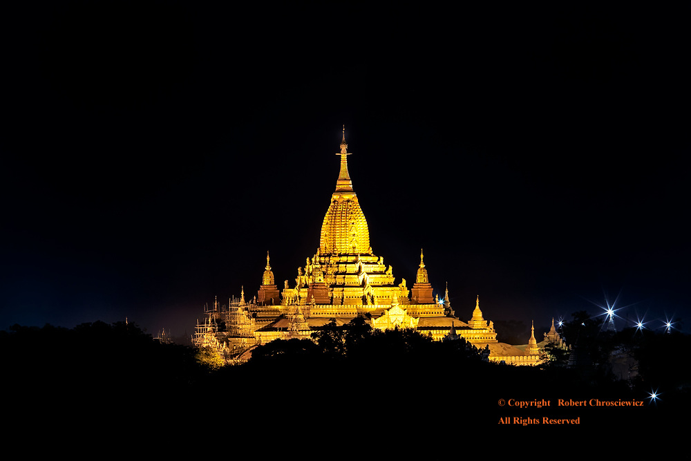 Bagan at Night : Night descends about the golden Ananda Temple, one of the holiest Buddhist sites in Bagan Myanmar.