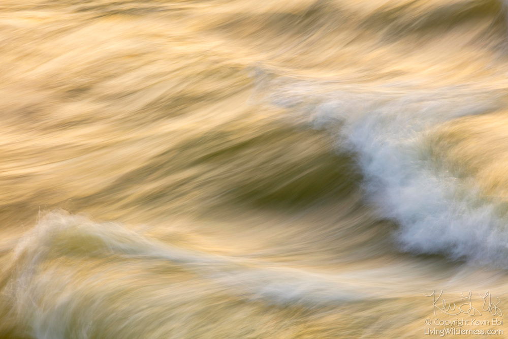 The golden light of sunrise is reflected on the Potomac River as it flows over rocks in Great Falls Park, Virginia.