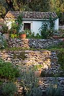 Plants growing in terracotta pots on stone terraces on the Orkos Estate, Paxos, Greece, Europe