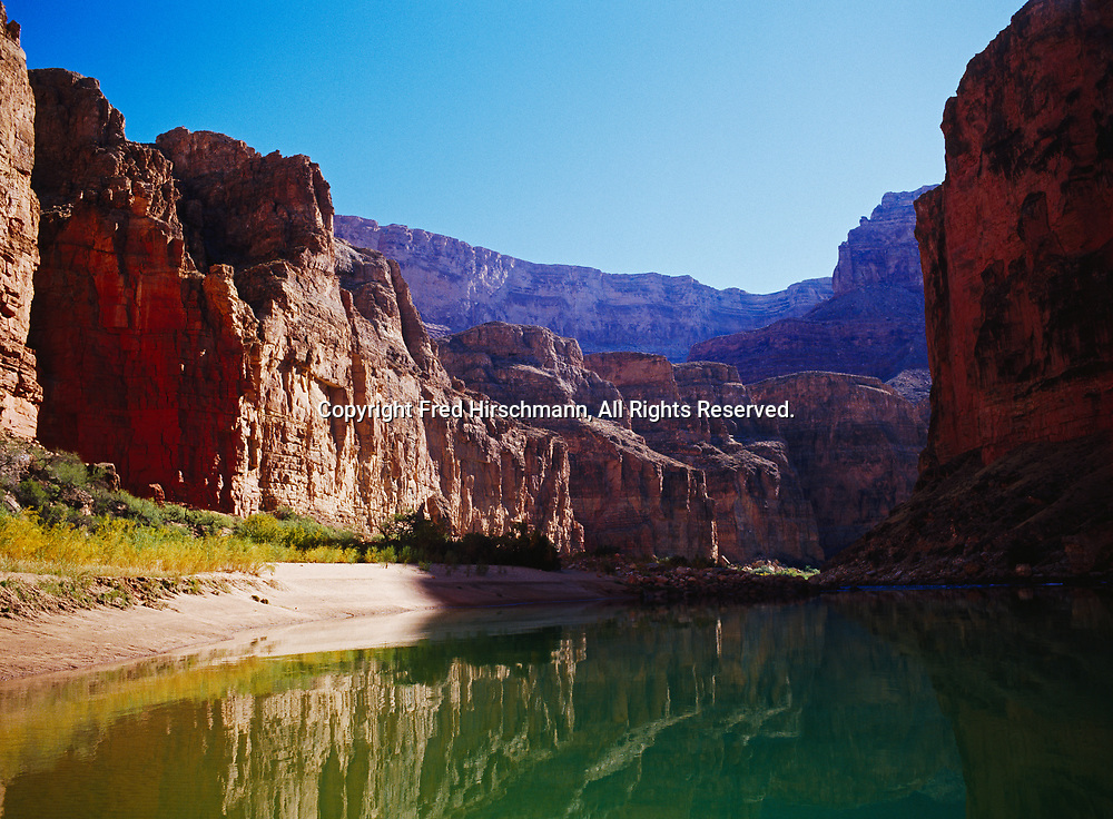 Green waters of the Colorado River in Marble Canyon above President Harding Rapid, Grand Canyon National Park and Navajo Reservation, Arizona.