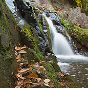 Waterfall, rocks, and autumn leaves.
