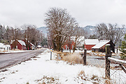 Town of Genesee From the West on Genesee Road, Genesee Valley, Winter, Fresh Snow, Bare Trees, Genesee Road, Bunk House, Genesee Home, Genesee Ranch House, Genesee Store, Barbed Wire Fence, California Mountains