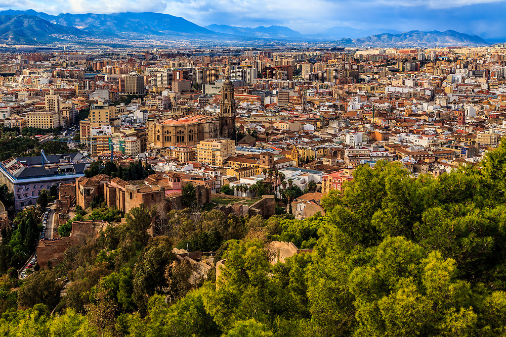 The Malaga city in Spain. The Cathedral of Málaga, built between 1528 and 1782, dominates the view from Gibralfaro castle.
