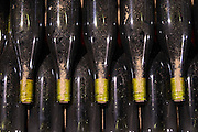 old bottles in the cellar monthelie cote de beaune burgundy france