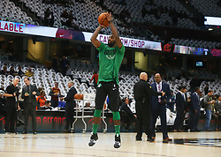 October 17, 2017 - Cleveland, OH, USA - Boston Celtics guard Kyrie Irving warms up before a game against the Cleveland Cavaliers on Tuesday, Oct. 17, 2017, at Quicken Loans Arena in Cleveland. (Credit Image: © Leah Klafczynski/TNS via ZUMA Wire)
