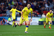 Alex Mowatt of Leeds united celebrates after scoring his teams 3rd goal. Skybet football league Championship match, Huddersfield Town v Leeds United at the John Smith's Stadium in Huddersfield, Yorks on Saturday 7th November 2015.<br /> pic by Chris Stading, Andrew Orchard sports photography.