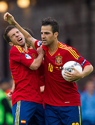 10-06-2012 VOETBAL: UEFA EURO 2012 DAY 3: POLEN OEKRAINE<br /> Jordi Alba of Spain and Cesc Fabregas of Spain celebrate during the UEFA EURO 2012 group C match between Spain and Italy at The Arena Gdansk <br /> ***NETHERLANDS ONLY***<br /> ©2012-FotoHoogendoorn.nl