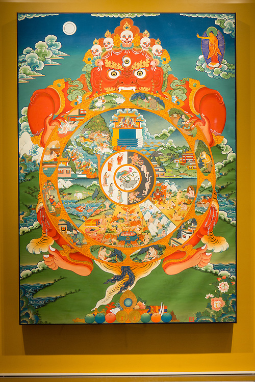 An early 20th-century Tibetan painting of the Wheel of Existence in the Rubin Museum of Art.
