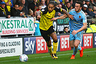 Burton Albion striker Sean Scannell (9) and Wolverhampton Wanderers Diogo Jota (18)  during the EFL Sky Bet Championship match between Burton Albion and Wolverhampton Wanderers at the Pirelli Stadium, Burton upon Trent, England on 30 September 2017. Photo by John Potts.
