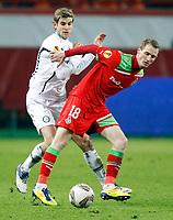 Fotball , 1. desember 2011 , - UEFA Europa League, Gruppenphase, Lokomotiv Moskva vs SK Sturm Graz. Bild zeigt Manuel Weber (Sturm) und Vladislav Ignatyev (Lokomotiv). <br /> <br /> Norway only