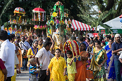 © Licensed to London News Pictures. 03/02/2015. Ipoh, Malaysia. Devotees carrying kavadis arrive at Kallumalai Murugan Temple in Ipoh, Malaysia, during the Thaipusam Festival,  Tuesday, Feb. 3, 2015. Photo credit : Sang Tan/LNP
