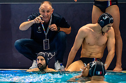 Team Head CoachNenad Vukanic of France in action against Netherlands during the Olympic qualifying tournament. The Dutch water polo players are on the hunt for a starting ticket for the Olympic Games on February 17, 2021 in Rotterdam