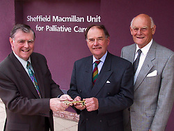 Official Hand Over of the new Sheffield Macmillan Unit for Palliative Care at the Northern General Hospital on Tuesday (9/4/2) Morning. Left to right are Chairman of Baggaley Construction  Howard Baggaley, David Stone Chairman of the The Sheffield Teaching Hospitals Trust and  Sir Michael Carlisle Chairman of the Macmillan Horizons Appeal.
