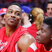 14 May 2015: Houston Rockets center Dwight Howard (12) is seen on the bench next to Houston Rockets center Clint Capela (15) during the Houston Rockets 119-107 victory over the Los Angeles Clippers, in game 6 of the Western Conference semifinals, at the Staples Center, Los Angeles, California, USA.