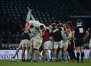 Twickenham, United Kingdom. Cambridge Celebrate winning the  Men's Varsity Rugby, [Oxford vs Cambridge],Twickenham. UK, at the RFU Stadium, Twickenham, England, <br /> <br /> Thursday  08/12/2016<br /> <br /> [Mandatory Credit; Peter Spurrier/Intersport-images]