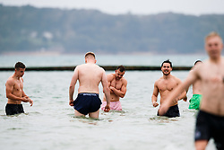 Andy Uren looks on as Bristol Rugby take part in a morning after game recovery session in the sea - Rogan/JMP - 29/10/2017 - RUGBY UNION - Jersey Marine Lake - St Helier, Jersey - Jersey Reds v Bristol Rugby - Greene King IPA Championship.