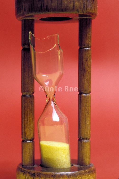 close up of a broken hourglass