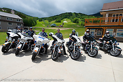 Police escort on the Gypsy Tour ride to the Gunstock resort during Laconia Motorcycle Week. NH, USA. Thursday, June 14, 2018. Photography ©2018 Michael Lichter.