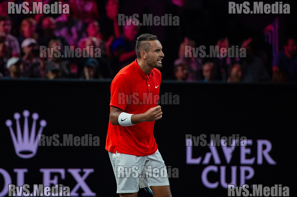 GENEVA, SWITZERLAND - SEPTEMBER 21: Nick Kyrgios of Team World celebrates during Day 2 of the Laver Cup 2019 at Palexpo on September 21, 2019 in Geneva, Switzerland. The Laver Cup will see six players from the rest of the World competing against their counterparts from Europe. Team World is captained by John McEnroe and Team Europe is captained by Bjorn Borg. The tournament runs from September 20-22. (Photo by Monika Majer/RvS.Media)