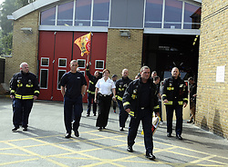 © Licensed to London News Pictures. 25/09/2013<br /> London Firefighters Strike, Sidcup Firefighters in Sidcup, Kent South East London (border) taking strike action,  walking out of their fire station.<br /> UK Firefighters today (25.09.2013) walked out of fire stations at noon for 4 hours in a battle over pensions.<br /> Photo credit :Grant Falvey/LNP