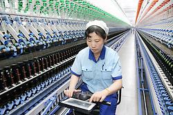 April 25, 2018 - Nanton, China - The intelligent wool spinning workshop of Dasheng Group in Nantong, east China's Jiangsu Province, April 25th, 2018. (Credit Image: © SIPA Asia via ZUMA Wire)