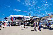 The Historical Flight Foundation's fully restored DC-7B, painted in the Eastern Airlines livery.  Photographed during Airventure 2010 at Oshkosh, Wisconsin.